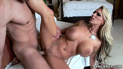 Sexy hot big tits milf Holly Halston spreads legs and shaved pussy
