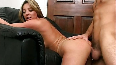 Raylin stretches her arms out while fucked from behind