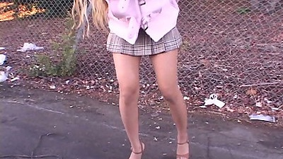 Asian amateur Kaila Mai picked up outdoors in a mini skirt