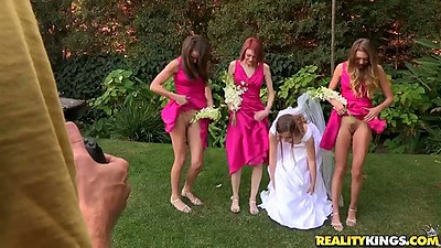 Lesbian bridesmaids Malena Morgan and Jessi Andrews with Aurielee Summers