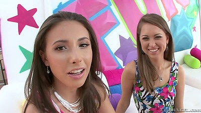 Casey Calvert and Riley Reid lesbian cuties in tight mini skirts
