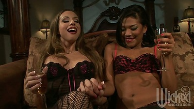 Lingerie and bras and panties from lesbian Emy Reyes and Isabella Sky