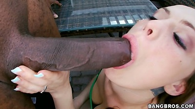 Interracial big dick outdoors blowjob from Monica Rise