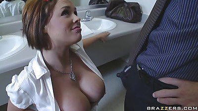 Busty chick goes to suck off her teacher in the bathroom