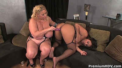 Two big ass milfs with big tits Annika Adams and Samantha using sex toys