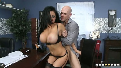 Big tits standing fuck in office in bra with Audrey Bitoni and friend