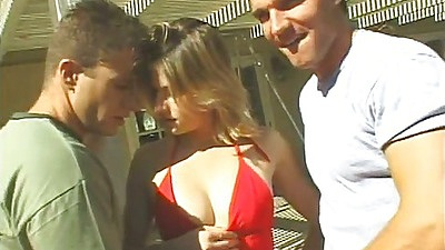 Natural tits Dominica Leoni outdoor threesome fingering