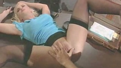 Office bitch Hanna Harper thrown on the table with legs open