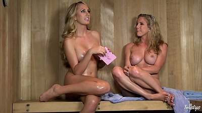 Naked big tits girls Ainsley Addison and Brett Rossi with an interview in sauna