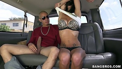 Undressing Mia Hurley in bangbus backseat with big dick pov blowjob