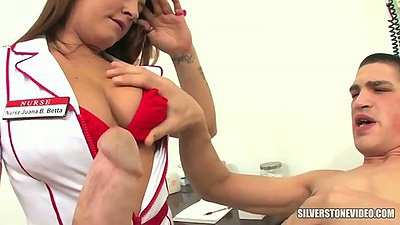 Big tits doctor nurse Talia Palmer works on patients dick