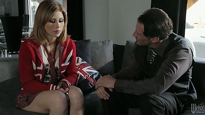 Fully clothed mail order bride Brooklyn Lee makes out and gives a look up skirt