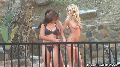 Lesbians outdoor Ryder Skye and Sammie Rhodes with Eva Angelina