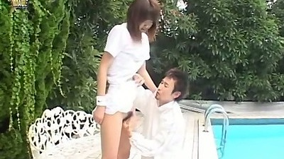 Nice asian teen in all white sex and suck with Issa