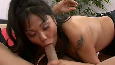 Asian stockings blowjob from Maya Minx with 69 sex