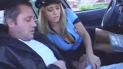Uniform female cop blows in the drivers seat then cowgirl ride