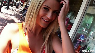 Blonde Amanda Tate outdoor in public gets talked