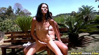Amanda Soares reverse cowgirl small tits sex on the bench outdoors