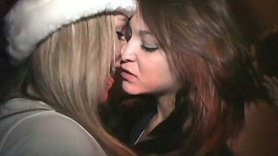 Kissing college lesbian girls at xmas party