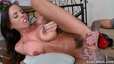 Brandy Aniston hairy pussy and big tits fingering