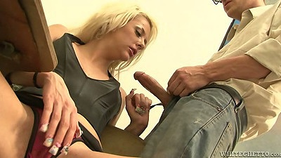Blonde Courtney Taylor blowjob behind her desk