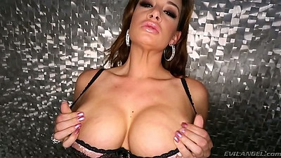 Big tits solo Tory Lane shows nipples and kneels for pov blowjob