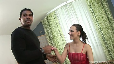Brunette Mia Melone enjoys interracial blowjob suck while naked