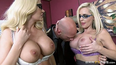 Big tits bras and panties two milfs at the work place on dick with Summer Brielle and Alena Croft