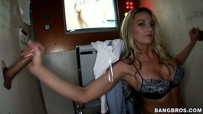 Glory hole handjob with Sindy Lange working two shafts at once