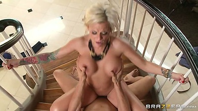 Horny wife milf Kate Frost stairs action with standing fuck