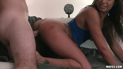 Doggy style for perfect round ass latina Abbi Roads with from behind sex