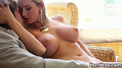 Blonde big tits Blake Rose sucking dick