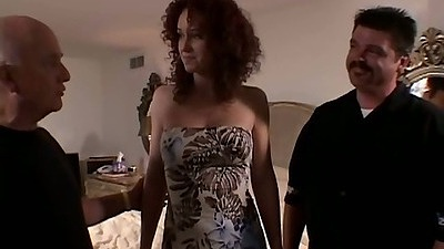 Fully clothed milf chick Kitty Monroe gets shirt pulled down off tits