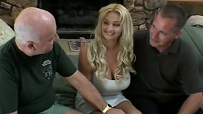 Blonde in tight dress  Sheridan Leigh is felt up all over and group sex