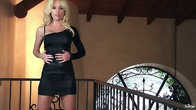 Blonde striptease solo Angela Sommers with naked body and wet panties views:1206