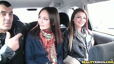 Backseat college euro sluts driven around and they suck right in the car Nataly Von and Aysha Rouge