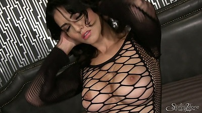 Solo fishnet babe Sunny Leone in seethrough lingerie views:7463