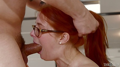 Deep throat and rough sex with redhead cutie in glasses Penny Pax