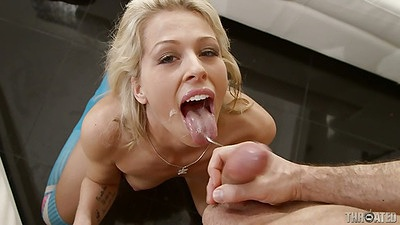Zoey Monroe gets cum on her tongue with deep throat and gagging all over