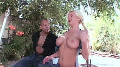Outdoor blonde Megan Monroe flashing her perfect sized and shaped tits views:2390