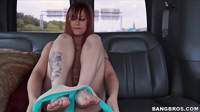 Bangbus backseat Alessa Snow stripping naked and showing flawless body views:272